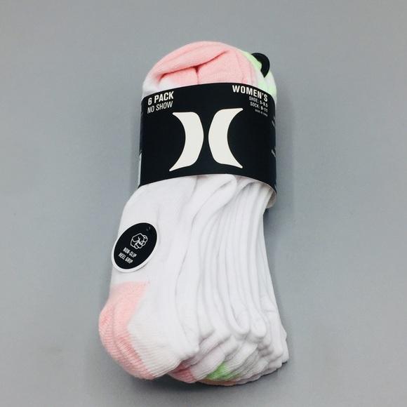 Hurley Women's No Show Non-Slip Heel Socks